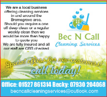 Bec 'n ' Call Cleaning Services Advert