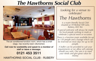 Hawthorns Social Club Advert