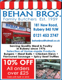 Behan Bros Butchers Advert