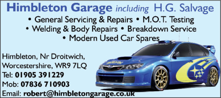 H G Salvage/Himbleton Garage Advert
