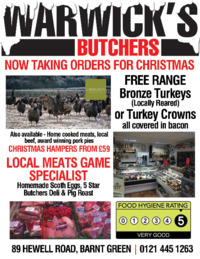 Warwick Butchers Advert