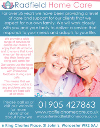 Radfield Home Care Brom/Redditch/Worcs Advert