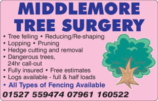 Middlemore Tree Surgery Advert