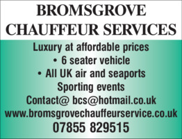 Bromsgrove Chauffeur Services Advert