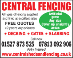 Central Sheds & Fencing Advert