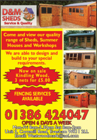 D&M Sheds Advert