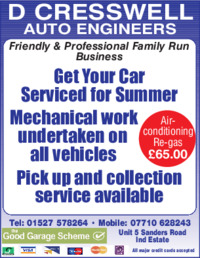 D Cresswell Auto Engineers Advert