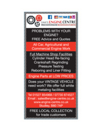 Dave's Engine Centre Advert