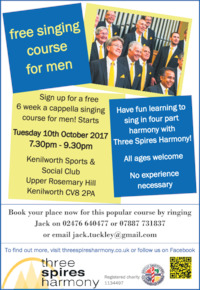 Coventry Barbershop Harmony Chorus Advert