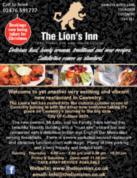 The Lion's Inn Advert