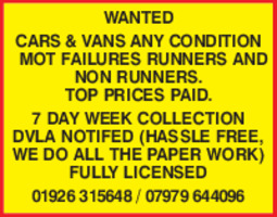 Scrap Cars Ltd Advert