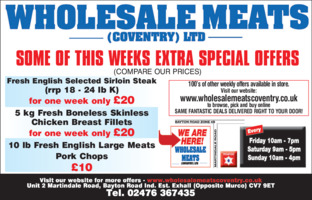 Wholesale Meats (Coventry) Ltd Advert