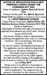 Sphinx Sports & Social Club Advert