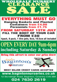 Baginton Nurseries Advert