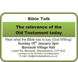 Coventry Old Paths Christadelphians Advert