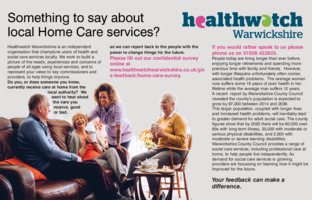 Healthwatch Warwickshire Advert