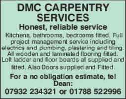 D M C Carpentry Services Advert