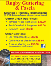 Rugby Guttering And Fascia Advert