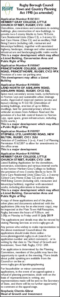 Rugby Borough Council Advert
