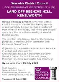 Warwick District Council Advert