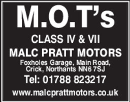 Malc Pratt Motors Advert