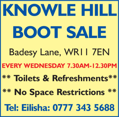Knowle Hill Car Boot Advert
