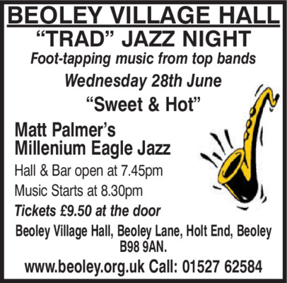Beoley Village Hall Social Club Advert