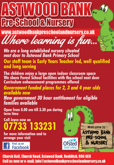 Astwood Bank Pre School Advert