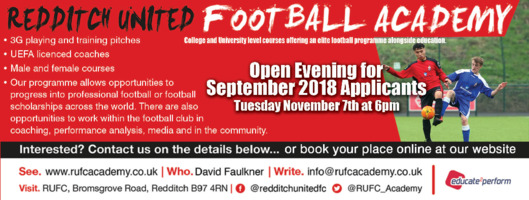 Redditch United Football Club Advert