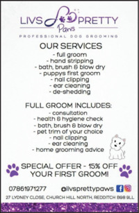 Liv's Pretty Paws Advert