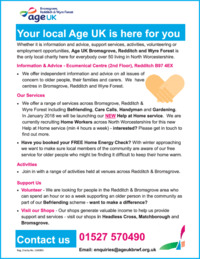 Age Uk Redditch & District Advert