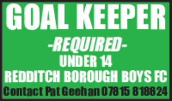Redditch Football Club Advert