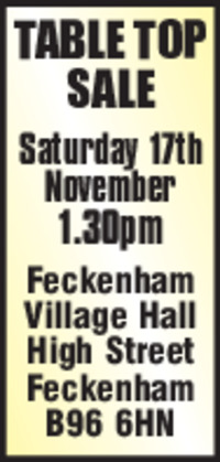 Feckenham Village Hall Advert
