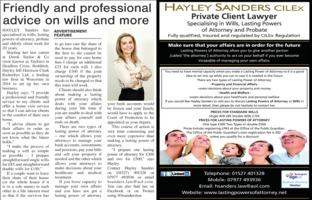 Hayley Sanders Advert