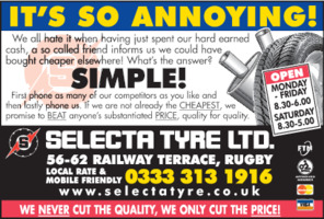 Selecta Tyre Ltd Advert
