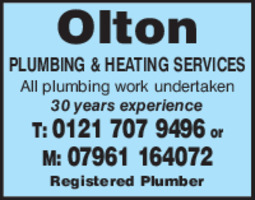 Olton Plumbing & Heating Services Advert