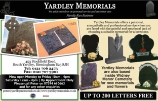 Yardley Memorials Advert
