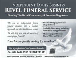 Revel Funeral Care Advert