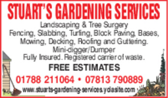 Stuart's Gardening Services Advert