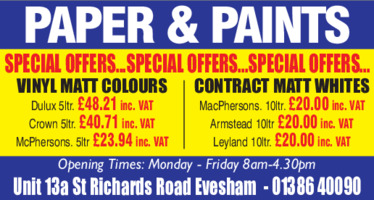 Papers and Paints Advert