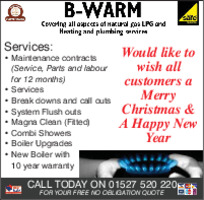 B-Warm Heating & Plumbing Ltd Advert
