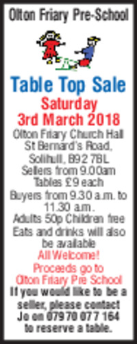 Olton Friary Pre school Advert
