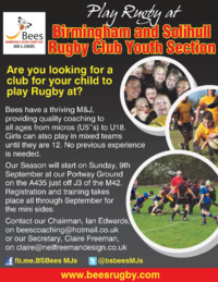 Birmingham and Solihull Rugby Club Advert