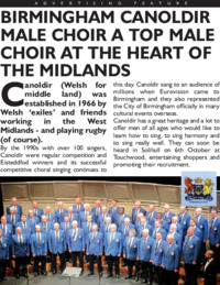 Canoldir Male Choir Advert