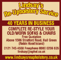 Lindsay's Re-Upholsetery Services Advert