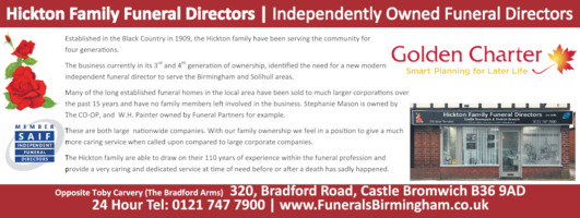 Atwell Family Funeral Director's Advert