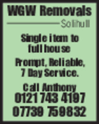 W G W Removals Advert