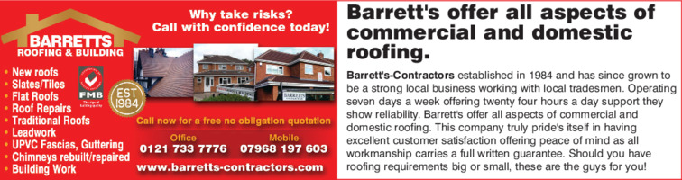 Barretts Contractors Advert