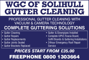Solihull Guttering Cleaning Advert