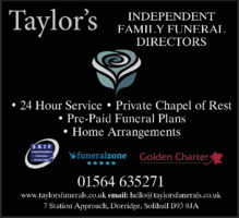Taylor's Independent Family Funeral Directors Advert